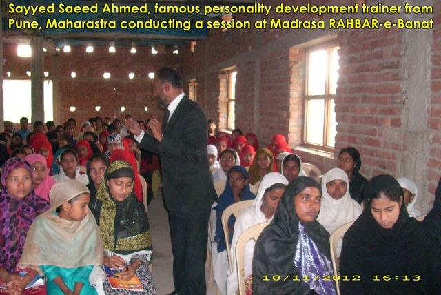 Personality Development Programs arranged by Bihar Anjuman in RAHBAR-e-Banat madarsa-cum-school for girls (Rahimabad village of Saamastipur district), 10th November 2012